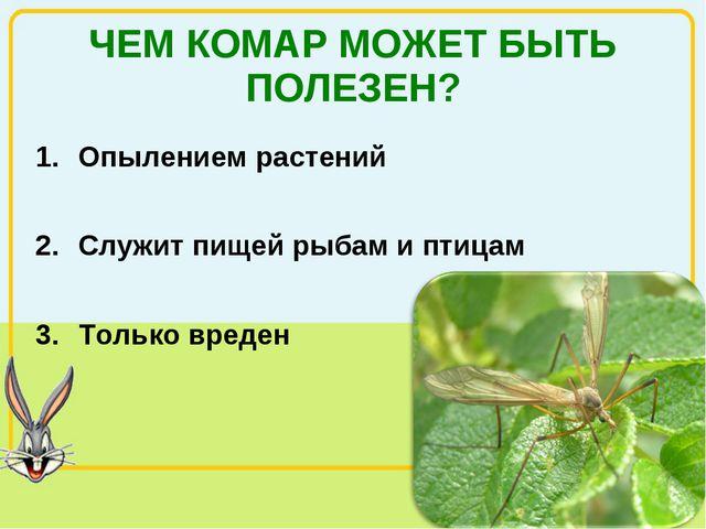 ЧЕМ КОМАР МОЖЕТ БЫТЬ ПОЛЕЗЕН? Опылением растений Служит пищей рыбам и птицам...