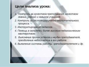 Цели анализа урока: 1. Контроль за качеством преподавания, качеством знаний,