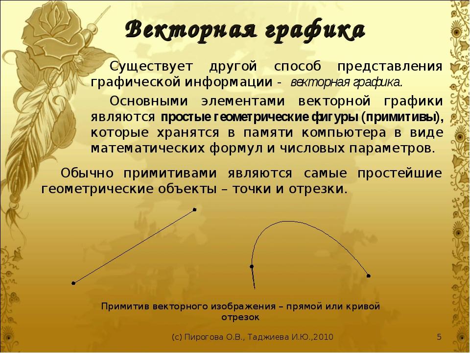 Векторная графика Существует другой способ представления графической информац...