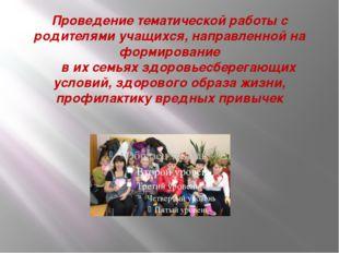 Проведение тематической работы с родителями учащихся, направленной на формиро
