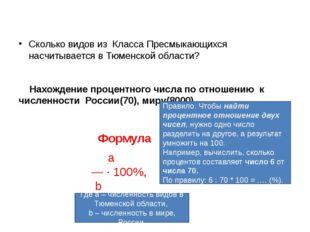 Сколько видов из Класса Пресмыкающихся насчитывается в Тюменской области? Нах