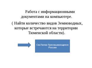 Работа с информационными документами на компьютере. ( Найти количество видов