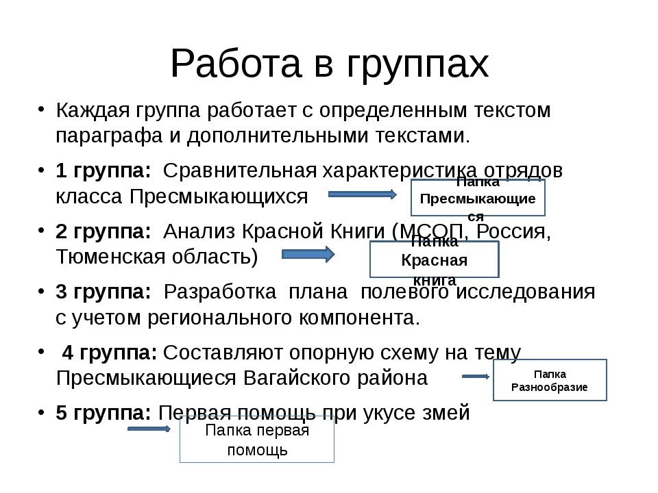 Работа в группах Каждая группа работает с определенным текстом параграфа и до...