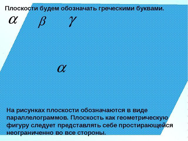 Плоскости будем обозначать греческими буквами. На рисунках плоскости обознача...