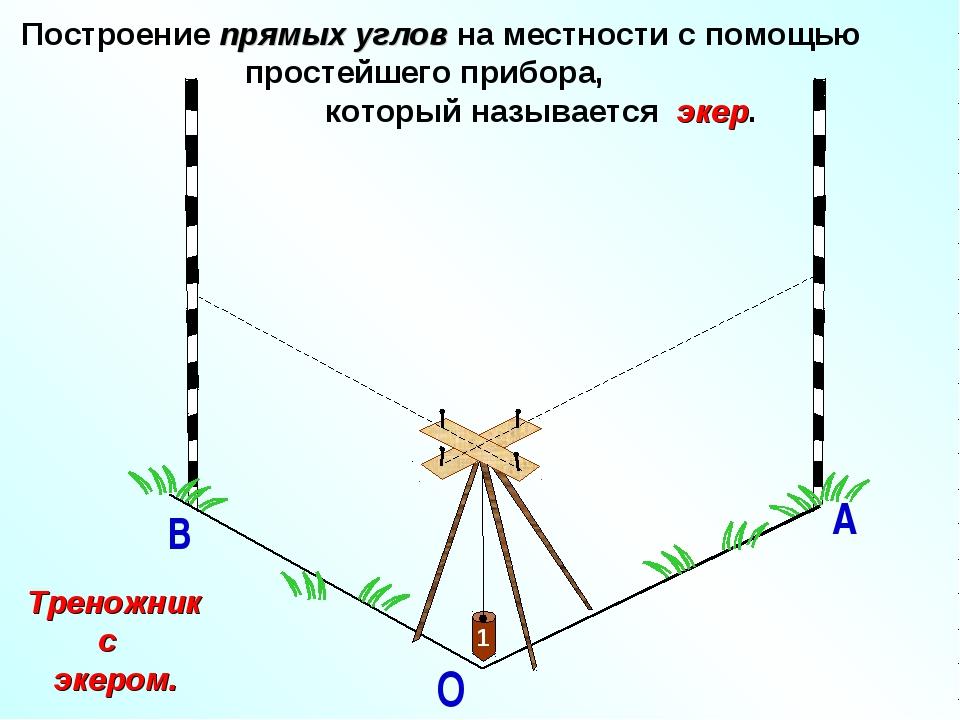 О А В Построение прямых углов на местности с помощью простейшего прибора, ко...