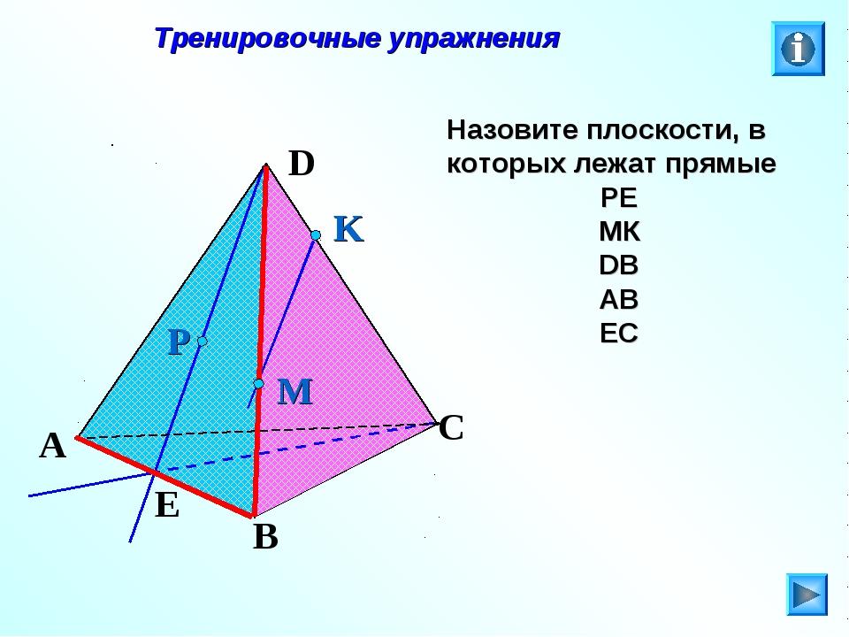 Тренировочные упражнения Назовите плоскости, в которых лежат прямые РЕ МК DB...