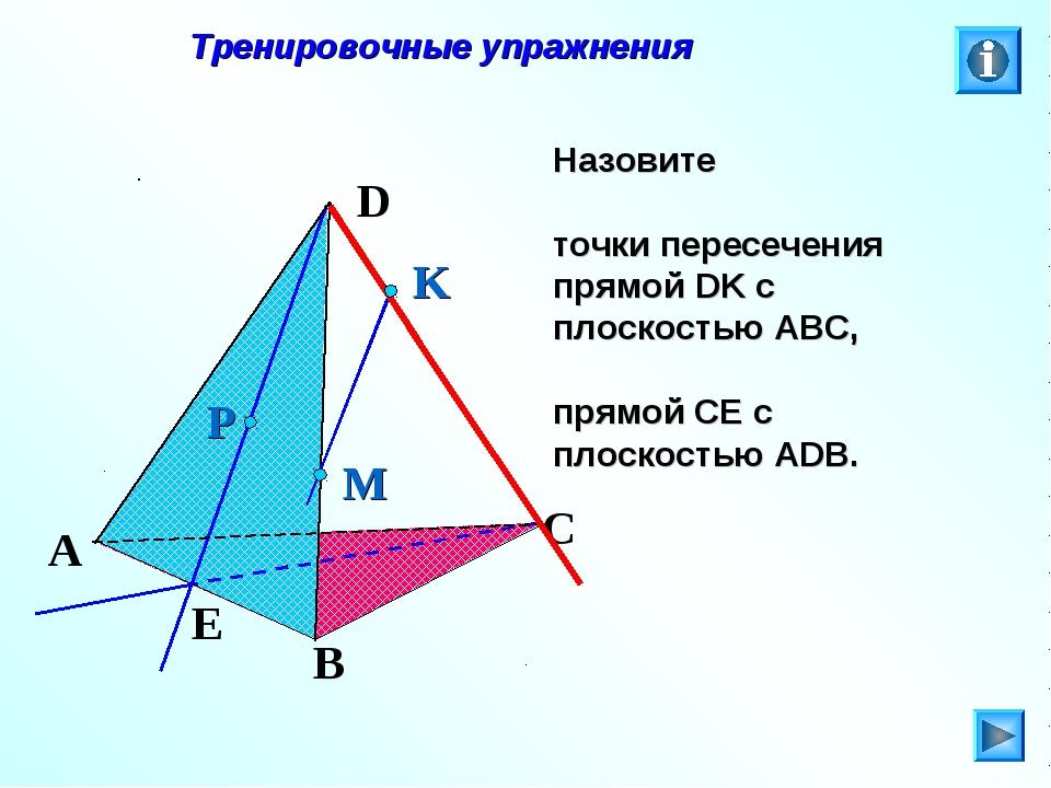 Тренировочные упражнения Назовите точки пересечения прямой DK с плоскостью А...