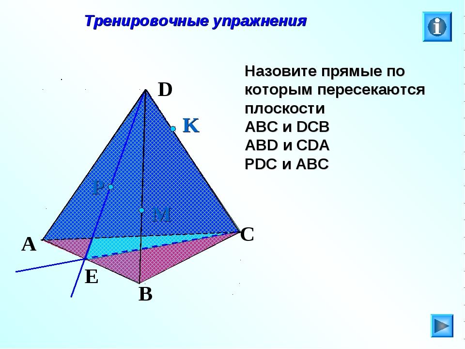 Тренировочные упражнения Назовите прямые по которым пересекаются плоскости А...