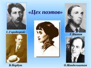 «Цех поэтов» С.Городецкий Г.Иванов О.Мандельштам В.Нарбут