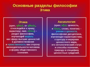 Основные разделы философии Этика Этика (греч. ηθικά, от ηθικός, относящийся к