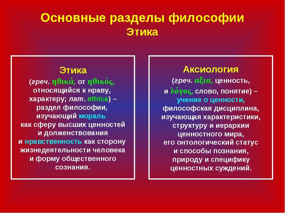 Основные разделы философии Этика Этика (греч. ηθικά, от ηθικός, относящийся к...