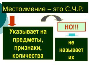 Местоимение – это С.Ч.Р. Указывает на предметы, признаки, количества НО!!! не