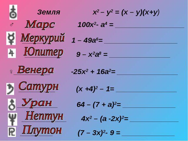 Земля х2 – у2 = (х – у)(х+у) ♂ _______ 100х2- а4 = _________________ _______...