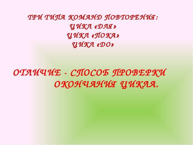 ТРИ ТИПА КОМАНД ПОВТОРЕНИЯ: ЦИКЛ «ДЛЯ» ЦИКЛ «ПОКА» ЦИКЛ «ДО» ОТЛИЧИЕ - СПОСОБ...