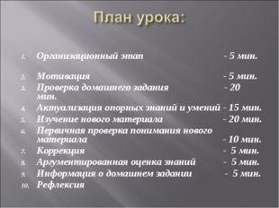 Организационный этап - 5 мин. Мотивация - 5 мин. Проверка домашнего задания -