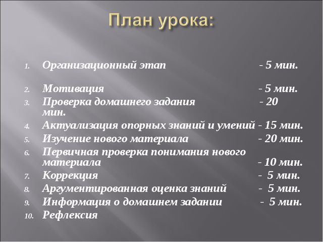 Организационный этап - 5 мин. Мотивация - 5 мин. Проверка домашнего задания -...