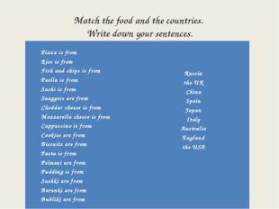 Match the food and the countries. Write down your sentences.   Pizza is from