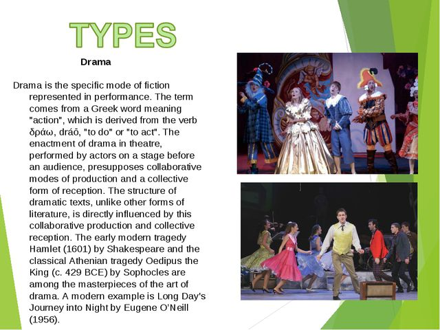 Drama Drama is the specific mode of fiction represented in performance. The...