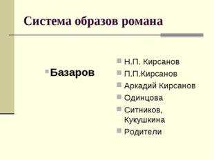 Система образов романа Базаров Н.П. Кирсанов П.П.Кирсанов Аркадий Кирсанов Од
