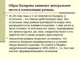 Образ Базарова занимает центральное место в композиции романа. Из 28 глав лиш