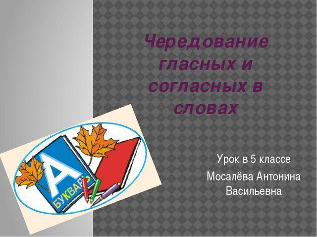Чередование гласных и согласных в словах Урок в 5 классе Мосалёва Антонина Ва...