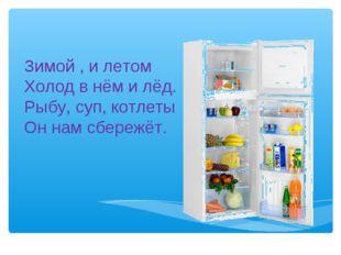 Зимой , и летом Холод в нём и лёд. Рыбу, суп, котлеты Он нам сбережёт.