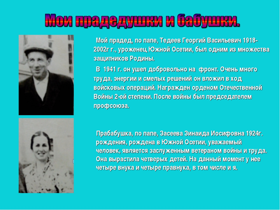 Мой прадед, по папе, Тедеев Георгий Васильевич 1918-2002г г., уроженец Южной...