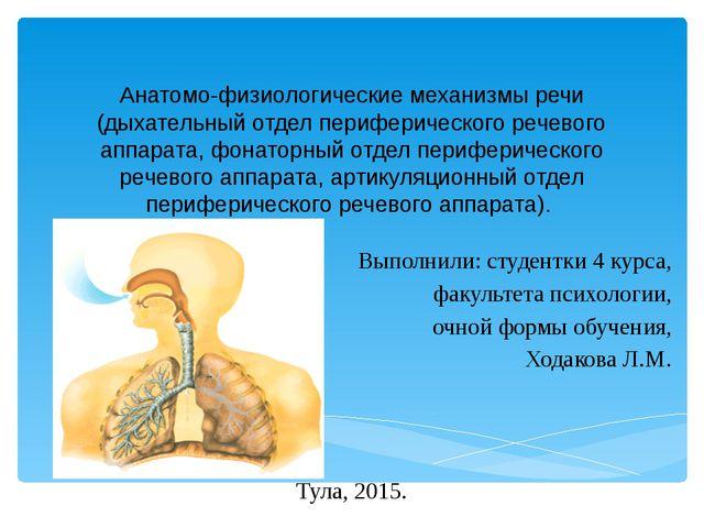 Анатомо-физиологические механизмы речи (дыхательный отдел периферического реч...