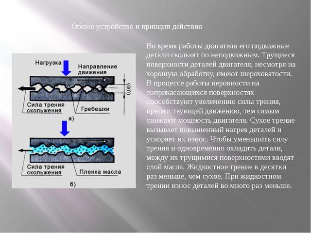 Общее устройство и принцип действия Во время работы двигателя его подвижные д...
