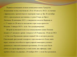 Первым калмыцким полком командовал князь Тундутов. Астраханцы полка участво