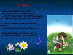 Не рви охапками цветы Цветы украшают луга и леса Но это не только природы кра