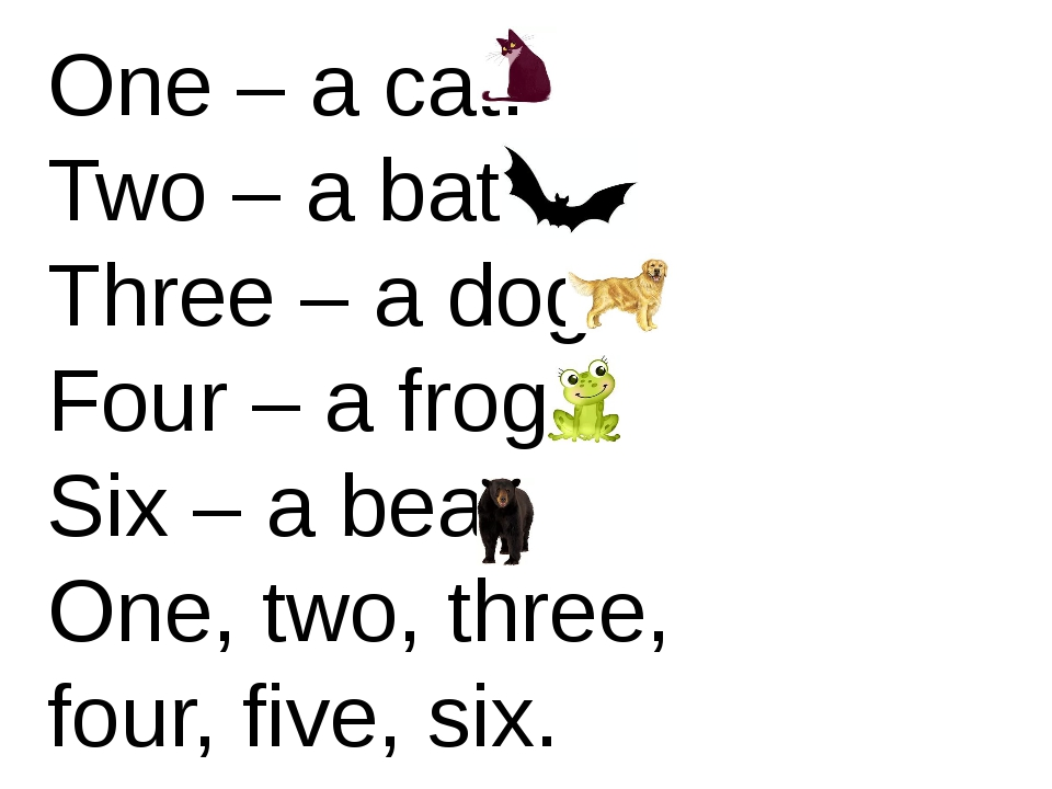 One – a cat. Two – a bat. Three – a dog. Four – a frog. Six – a bear. One, tw...