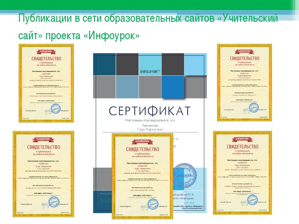 Публикации в сети образовательных сайтов «Учительский сайт» проекта «Инфоурок»