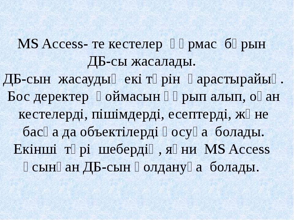 MS Access- те кестелер құрмас бұрын ДБ-сы жасалады. ДБ-сын жасаудың екі түрін...