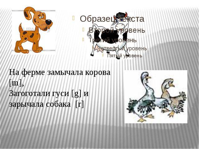 На ферме замычала корова [m], Загоготали гуси [g] и зарычала собака [r]