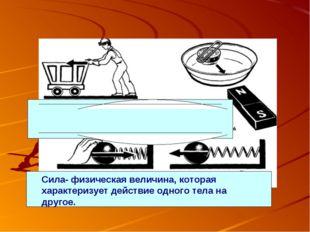 Сила- физическая величина, которая характеризует действие одного тела на друг