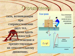 Определение сила, возникающая при соприкосновении двух тел, направлена вдоль