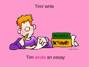 Tim/ write Tim wrote an essay