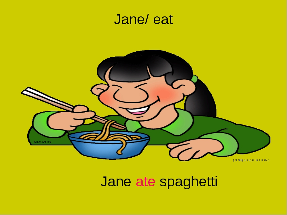 Jane/ eat Jane ate spaghetti