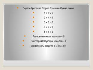 Первое бросание Второе бросание Сумма очков 1 + 5 = 6 2 + 4 = 6 3 + 3 = 6 4