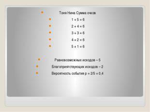 Тоня Нина Сумма очков 1 + 5 = 6 2 + 4 = 6 3 + 3 = 6 4 + 2 = 6 5 + 1 = 6 Равн
