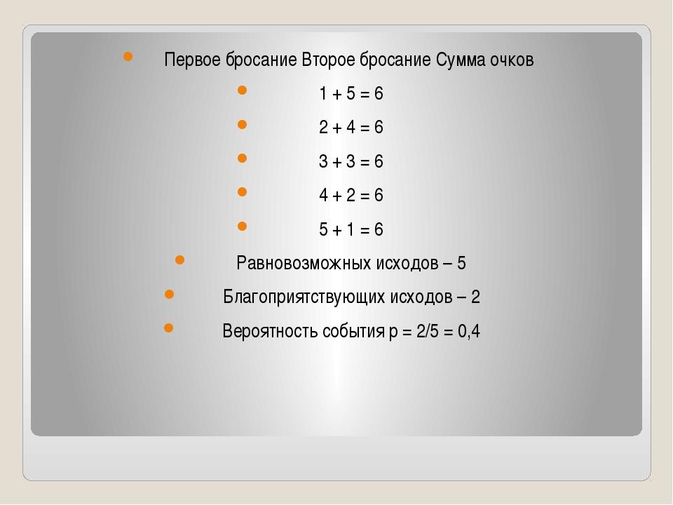 Первое бросание Второе бросание Сумма очков 1 + 5 = 6 2 + 4 = 6 3 + 3 = 6 4...