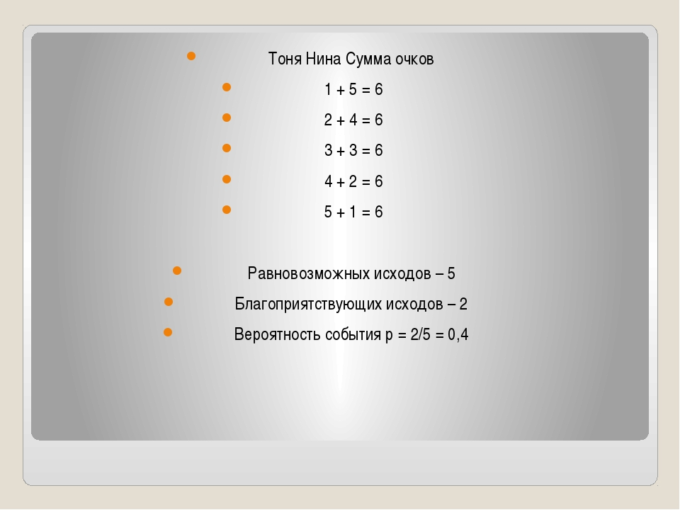 Тоня Нина Сумма очков 1 + 5 = 6 2 + 4 = 6 3 + 3 = 6 4 + 2 = 6 5 + 1 = 6 Равн...