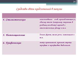 Средства связи предложений в тексте *  4. Стилистическиеиспользование слов