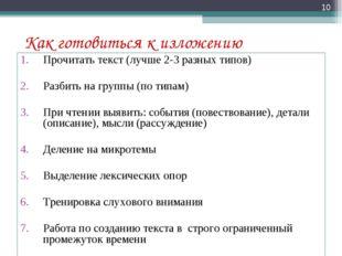 Как готовиться к изложению Прочитать текст (лучше 2-3 разных типов) Разбить н