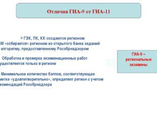 ГИА-9 – региональные экзамены Отличия ГИА-9 от ГИА-11 ГЭК, ПК, КК создаются
