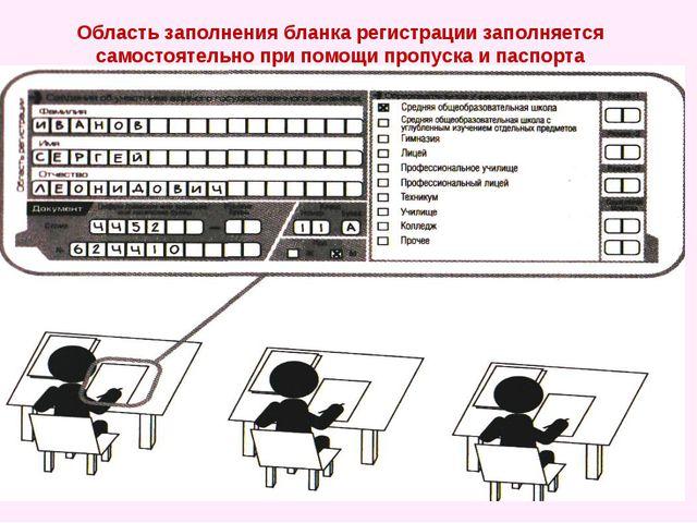 Область заполнения бланка регистрации заполняется самостоятельно при помощи п...