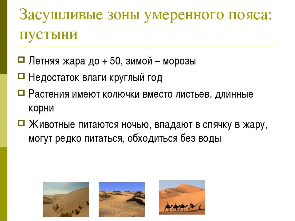 Засушливые зоны умеренного пояса: пустыни Летняя жара до + 50, зимой – морозы...