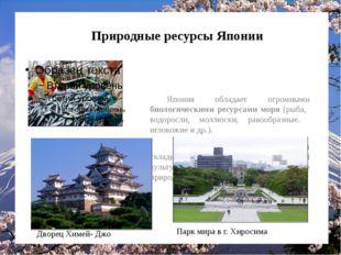 Природные ресурсы Японии Япония обладает огромными биологическими ресурсами