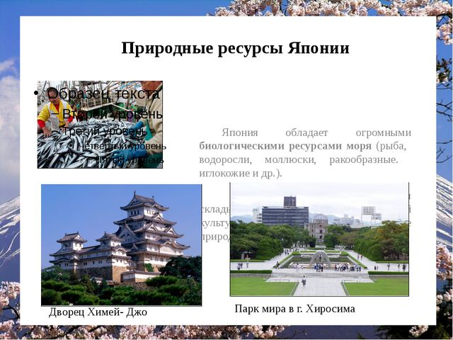 Природные ресурсы Японии Япония обладает огромными биологическими ресурсами...
